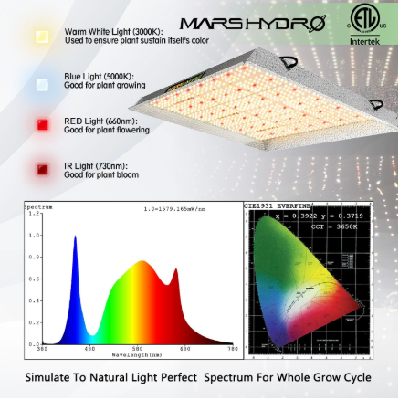 TS 3000 QB Design Led Plant Grow Light for 4'x4', Sunlike Spectrum with IR, Replace 800~1000w HPS - Mars Hydro
