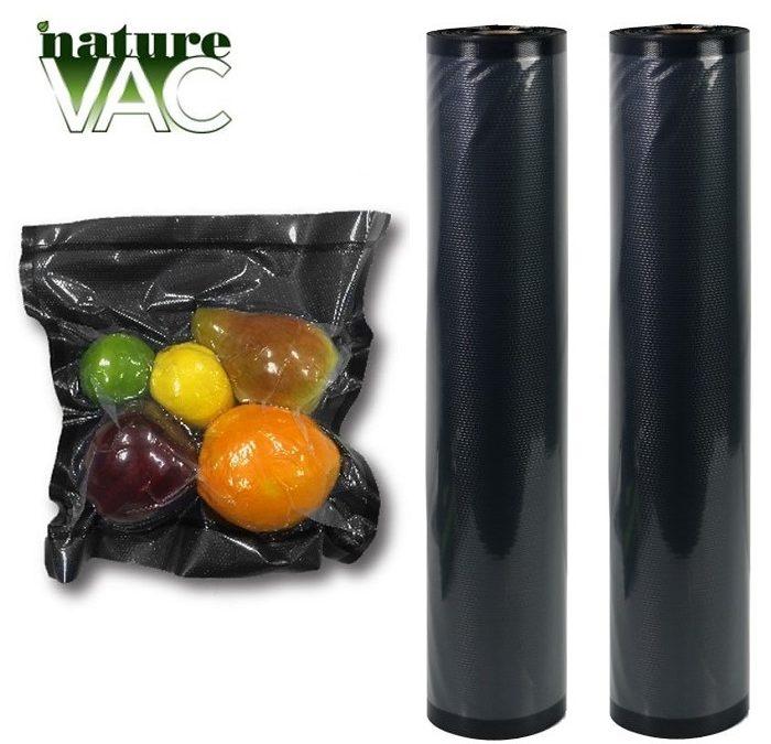NatureVAC Vacuum Seal Bags 11in. x 19.5ft. Black/Clear (2 Rolls)