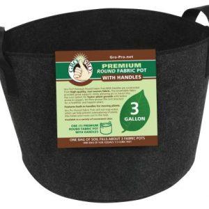 Gro Pro Premium Round Fabric Pot w/ Handles 3 Gallon - Black (72/Cs)
