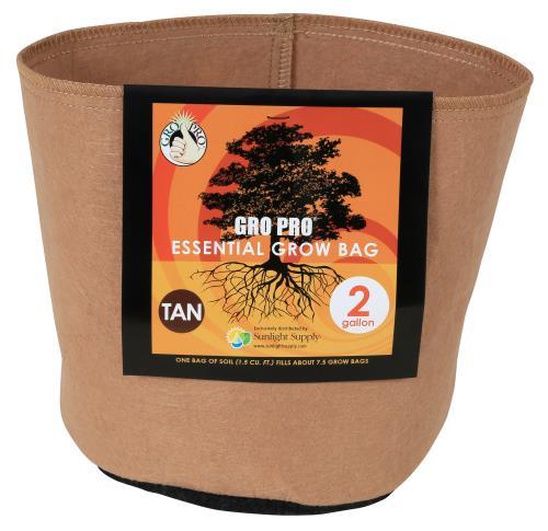 Gro Pro Essential Round Fabric Pot - Tan 2 Gallon (120/Cs)