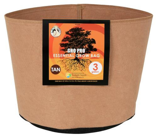 Gro Pro Essential Round Fabric Pot - Tan 3 Gallon (72/Cs)
