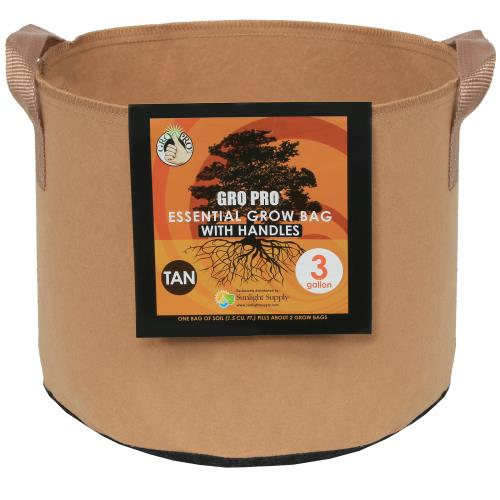 Gro Pro Essential Round Fabric Pot w/ Handles 3 Gallon - Tan (72/Cs)