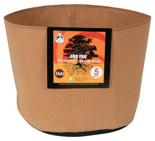 Gro Pro Essential Round Fabric Pot - Tan 5 Gallon (90/Cs)