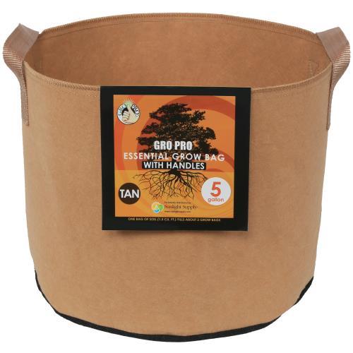 Gro Pro Essential Round Fabric Pot w/ Handles 5 Gallon - Tan (90/Cs)