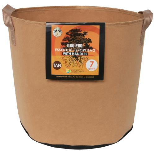 Gro Pro Essential Round Fabric Pot w/ Handles 7 Gallon - Tan (84/Cs)