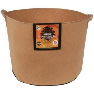 Gro Pro Essential Round Fabric Pot w/ Handles 15 Gallon - Tan (48/Cs)