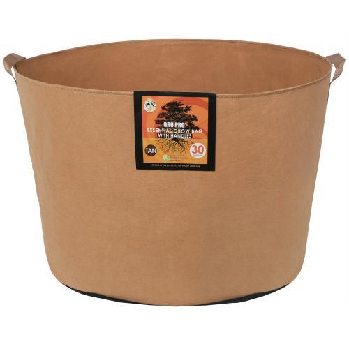 Gro Pro Essential Round Fabric Pot w/ Handles 30 Gallon - Tan (30/Cs)
