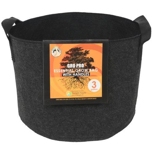 Gro Pro Essential Round Fabric Pot w/ Handles 3 Gallon - Black (72/Cs)