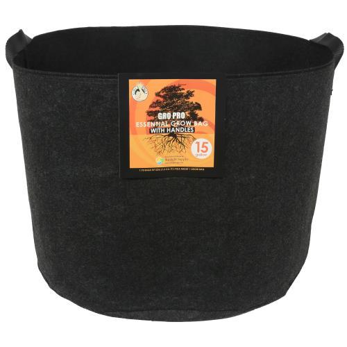 Gro Pro Essential Round Fabric Pot w/ Handles 15 Gallon - Black (48/Cs)