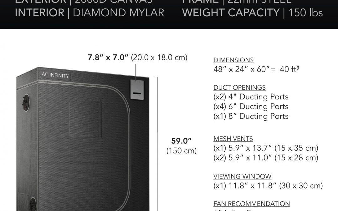 CLOUDLAB 642, Advance Grow Tent, 2000D Mylar Canvas, 48″ x 24″ x 60″