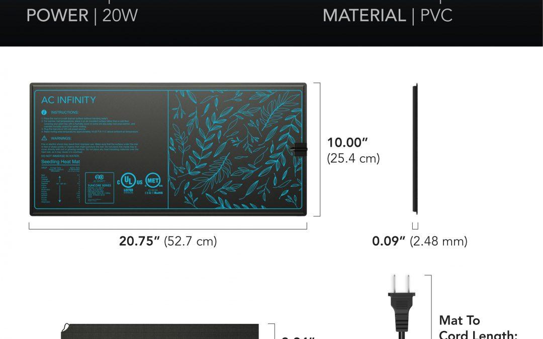 SUNCORE A3, Seedling Heat Mat, IP-67 Waterproof, 10″ x 20.75″