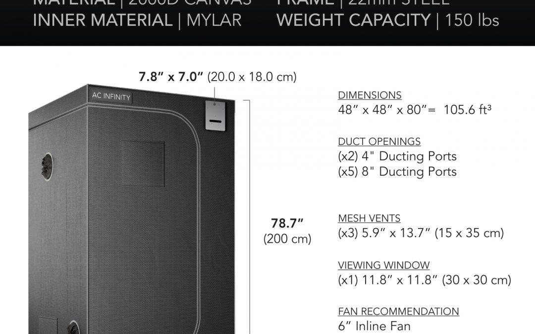 CLOUDLAB 844, Advance Grow Tent, 2000D Mylar Canvas, 48″ x 48″ x 80″
